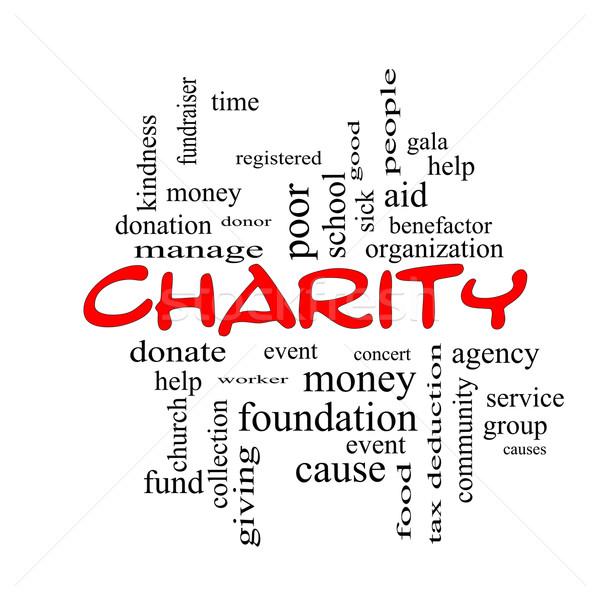 благотворительность слово облако красный жертвовать время Сток-фото © mybaitshop