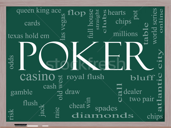 Poker Word Cloud Concept on a chalkboard Stock photo © mybaitshop