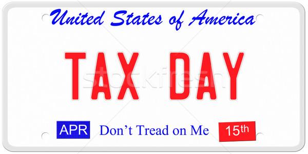 Belasting dag kentekenplaat imitatie Verenigde Staten woorden Stockfoto © mybaitshop