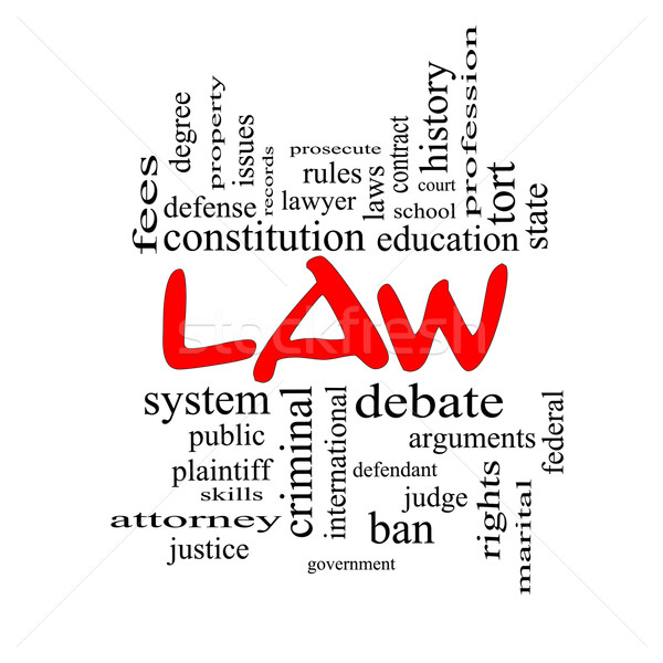 Law Word Cloud Concept in red caps Stock photo © mybaitshop