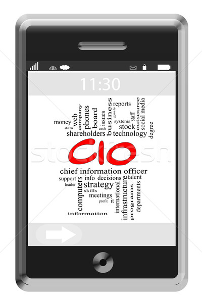 CIO Word Cloud Concept on Touchscreen Phone Stock photo © mybaitshop