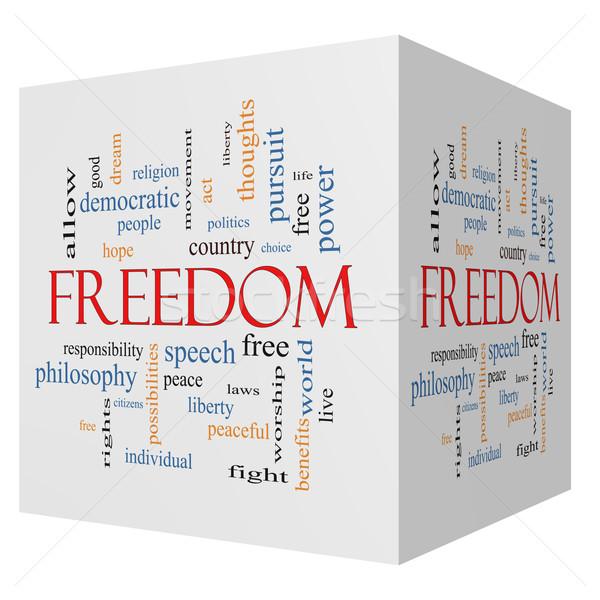 Foto stock: Liberdade · 3D · cubo · nuvem · da · palavra · livre