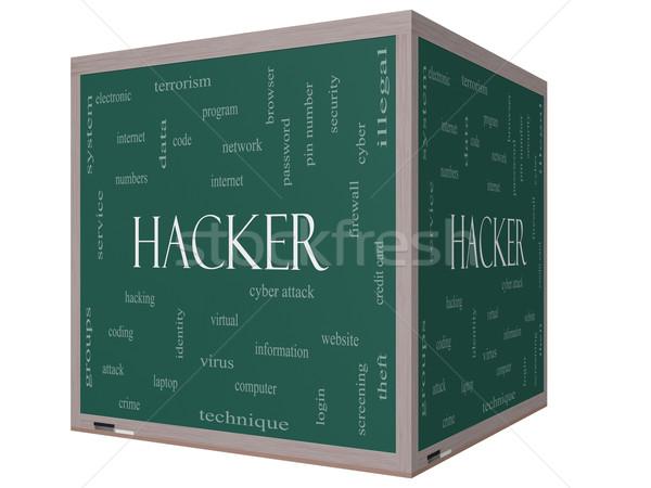 Stock fotó: Hacker · szófelhő · 3D · kocka · iskolatábla · nagyszerű