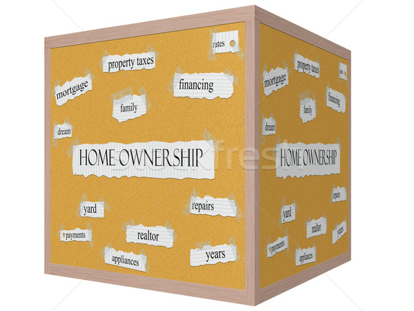 Home Ownership 3D cube Corkboard Word Concept Stock photo © mybaitshop