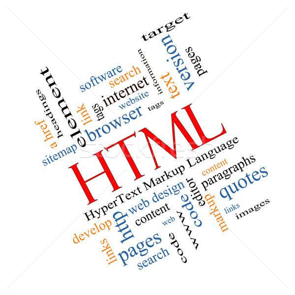 Html woordwolk groot tekst taal code Stockfoto © mybaitshop