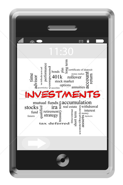Investments Word Cloud Concept on Touchscreen Phone Stock photo © mybaitshop