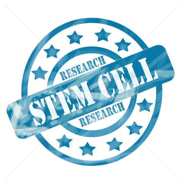 Blue Weathered Stem Cell Research Stamp Circles and Stars Stock photo © mybaitshop