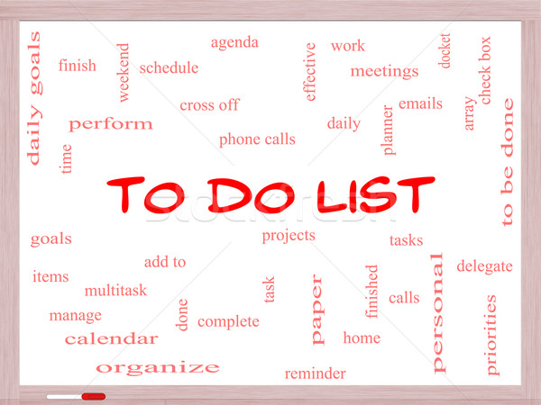 To Do List Word Cloud Concept on a Whiteboard Stock photo © mybaitshop