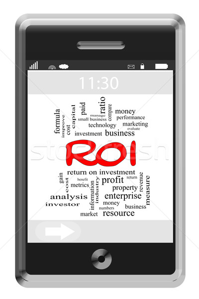 Stock photo: ROI Word Cloud Concept on Touchscreen Phone