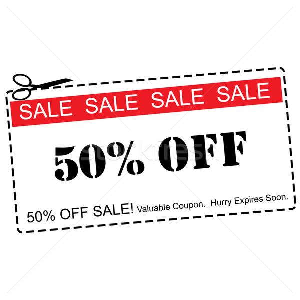Cinquante pour cent vente rouge Photo stock © mybaitshop
