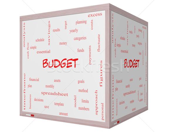 бюджет слово облако 3D куб Сток-фото © mybaitshop
