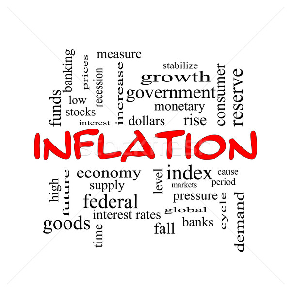 Inflation Word Cloud Concept in red caps Stock photo © mybaitshop