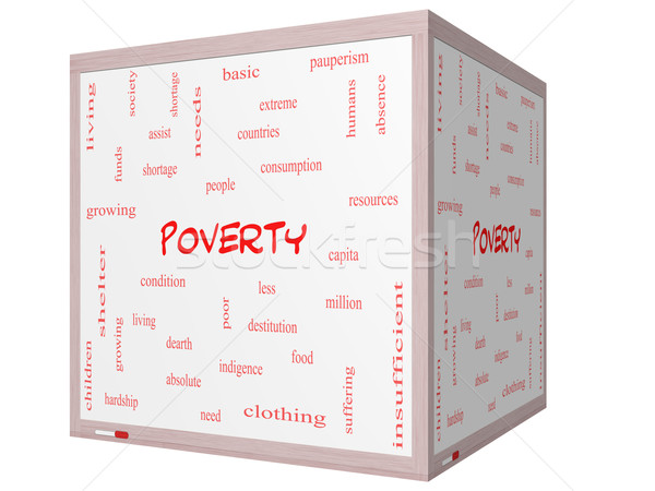 Szegénység szófelhő 3D kocka tábla nagyszerű Stock fotó © mybaitshop