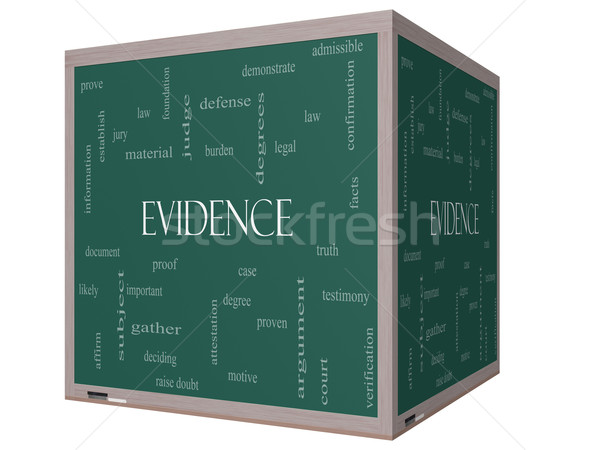 Evidence Word Cloud Concept on a 3D cube Blackboard Stock photo © mybaitshop