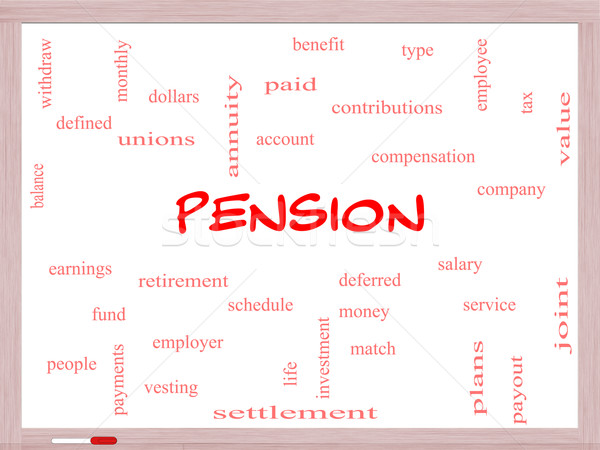 Pension Word Cloud Concept on a Whiteboard Stock photo © mybaitshop