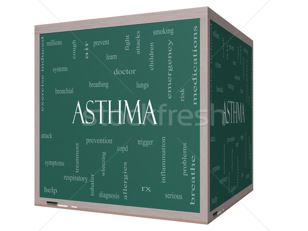 Asthma Word Cloud Concept on a 3D cube Blackboard Stock photo © mybaitshop