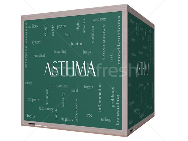 Asma word cloud 3D cubo lavagna Foto d'archivio © mybaitshop