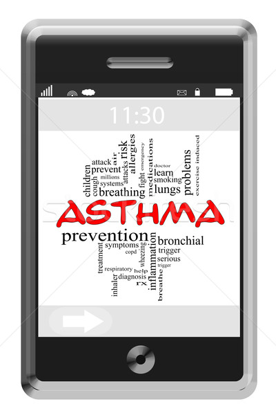 Asthma Word Cloud Concept on a Touchscreen Phone Stock photo © mybaitshop