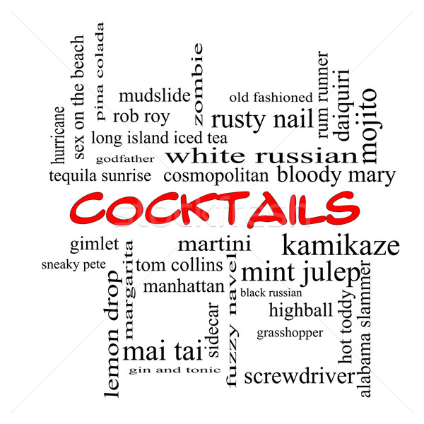 Stock photo: Cocktails Word Cloud Concept in red caps