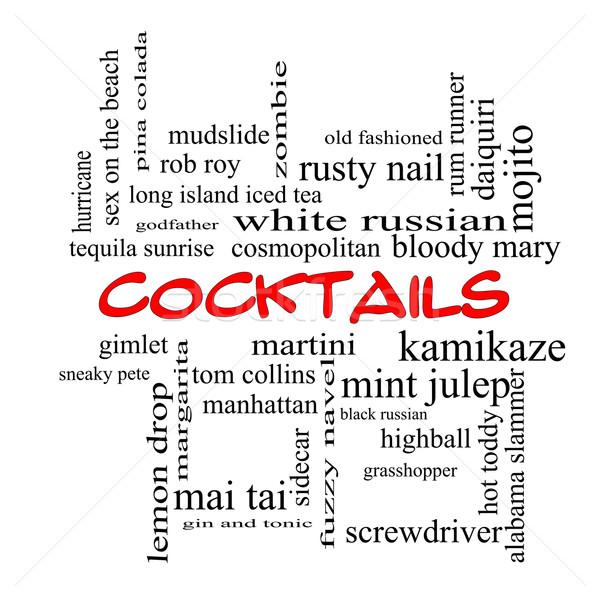 Photo stock: Cocktails · nuage · de · mots · rouge · magnifique · martini · plage