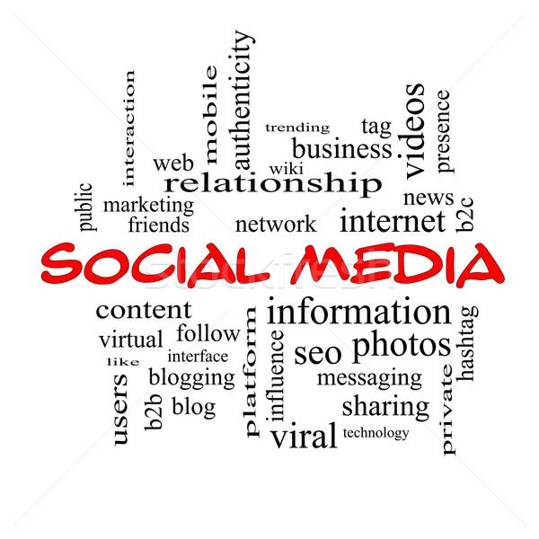 ソーシャルメディア 言葉の雲 赤 ネットワーク コンテンツ ストックフォト © mybaitshop