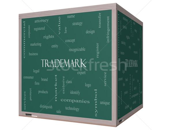 商標 言葉の雲 3D キューブ 黒板 ストックフォト © mybaitshop