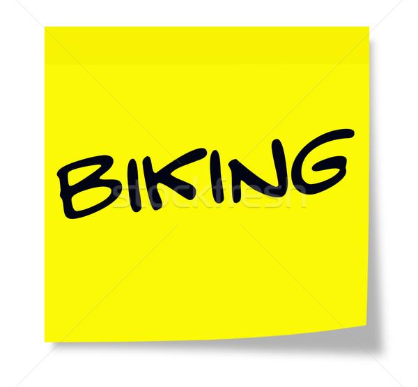 Motorozás öntapadó jegyzet írott papír citromsárga készít Stock fotó © mybaitshop