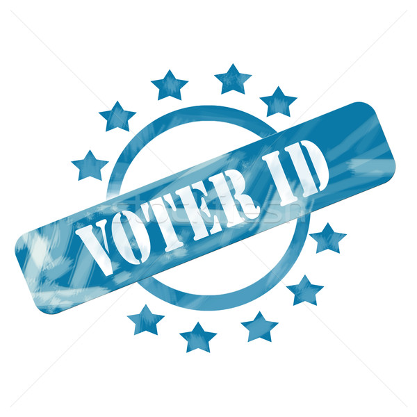 Blue Weathered Voter ID Stamp Circle and Stars design Stock photo © mybaitshop