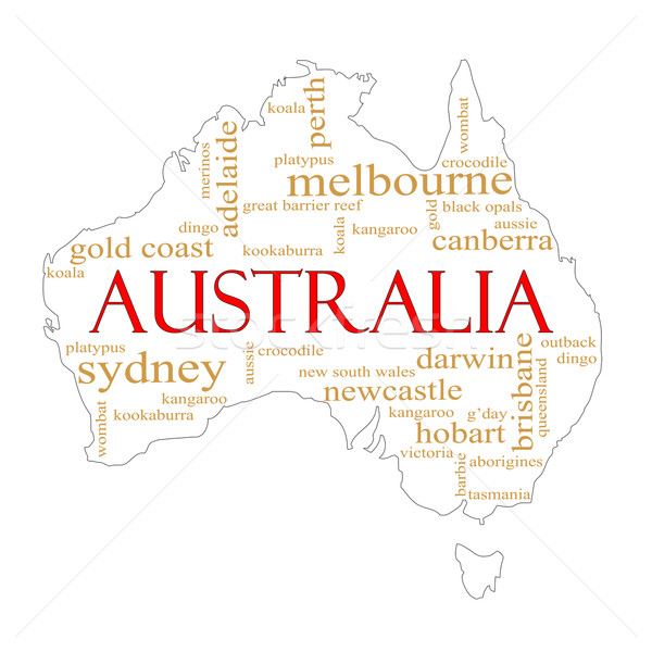 White Australia Word Cloud Map Stock photo © mybaitshop
