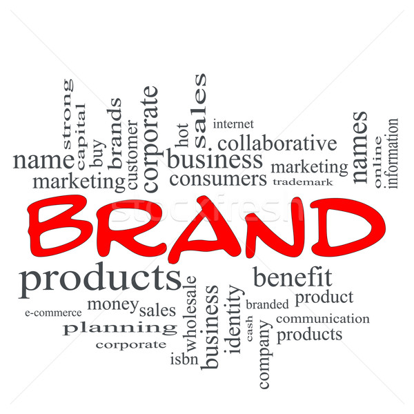 Brand Red Scribble Concept Word Cloud Stock photo © mybaitshop