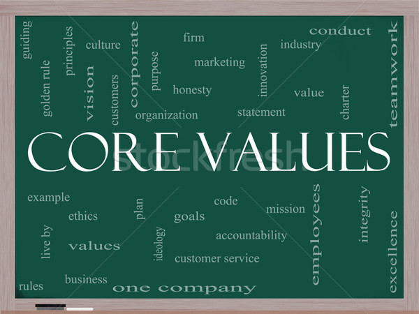 Stock photo: Core Values Word Cloud Concept on a Blackboard