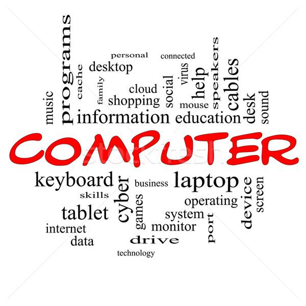 Computer woordwolk Rood groot laptop tablet Stockfoto © mybaitshop