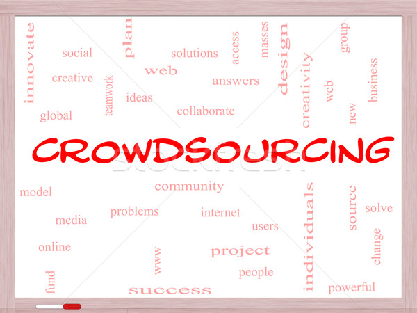 Crowdsourcing Word Cloud Concept on a Whiteboard Stock photo © mybaitshop