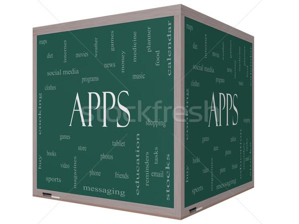 Stok fotoğraf: Uygulamaları · kelime · bulutu · 3D · küp · tahta · muhteşem