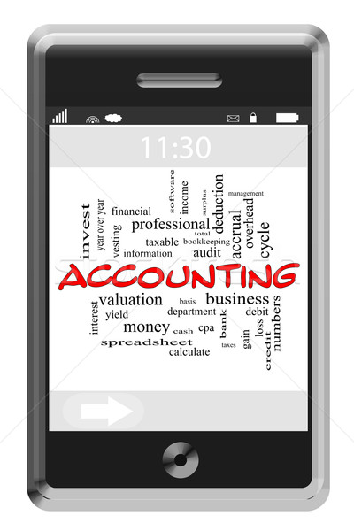 Accounting Word Cloud Concept on Touchscreen Phone Stock photo © mybaitshop
