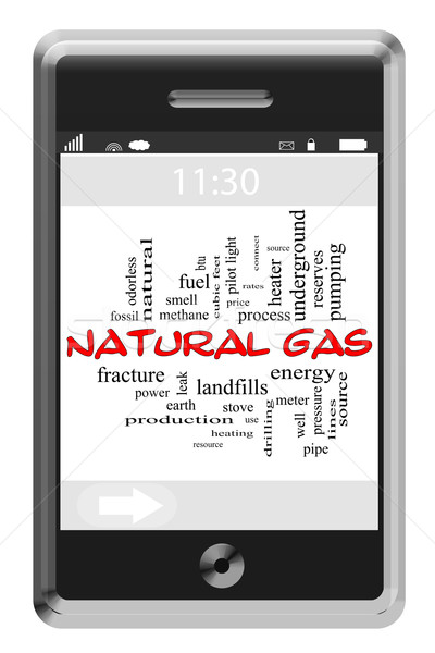 Natural Gas Word Cloud Concept on Touchscreen Phone Stock photo © mybaitshop