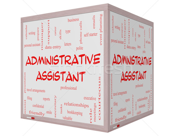 Administrative Assistant Word Cloud Concept on a 3D cube Whiteboard Stock photo © mybaitshop