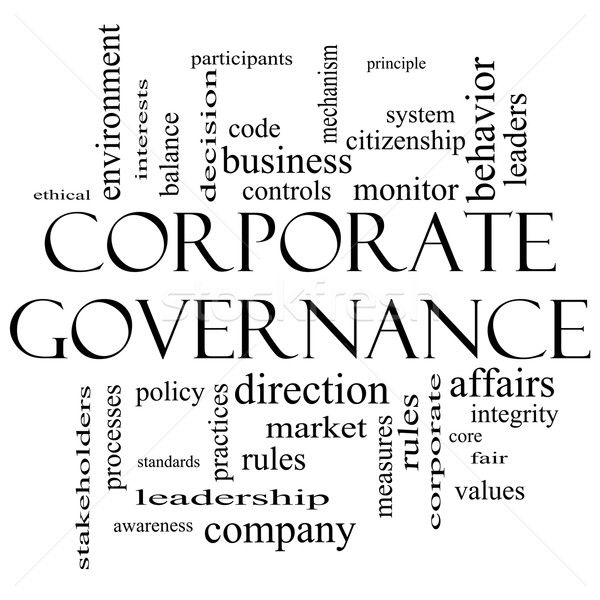 Corporate Governance Word Cloud Concept in black and white Stock photo © mybaitshop