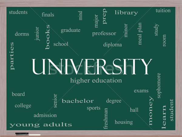 University Word Cloud Concept on a Blackboard Stock photo © mybaitshop