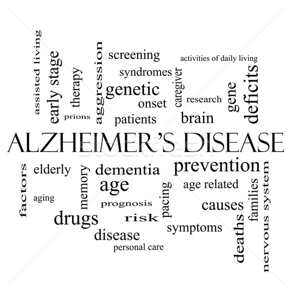 Alzheimer's Disease Word Cloud Concept in black and white Stock photo © mybaitshop