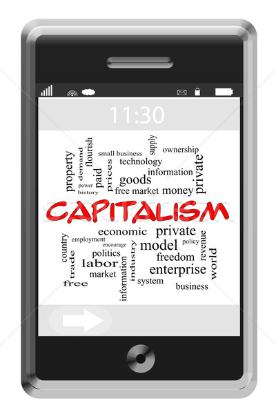 Capitalism Word Cloud Concept on Touchscreen Phone Stock photo © mybaitshop