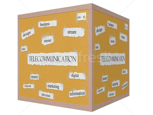 Telecommunication 3D cube Corkboard Word Concept Stock photo © mybaitshop