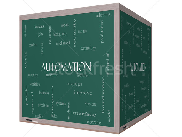 Automation Word Cloud Concept on a 3D cube Blackboard Stock photo © mybaitshop