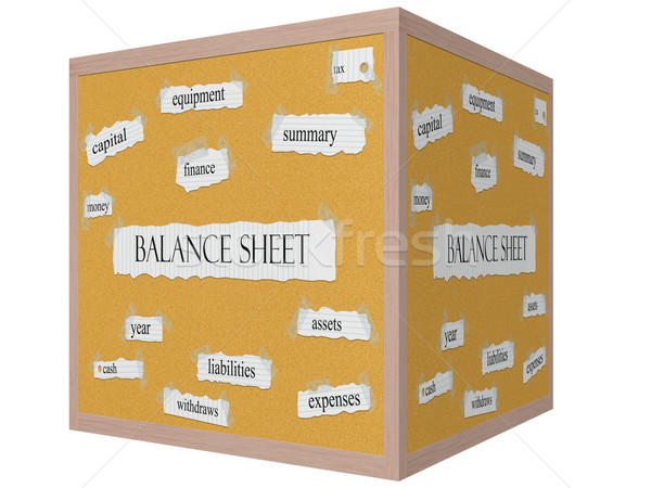 Balance Sheet 3D cube Corkboard Word Concept Stock photo © mybaitshop