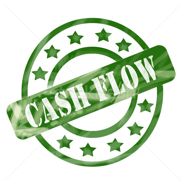 Green Weathered Cash Flow Stamp Circles and Stars Stock photo © mybaitshop