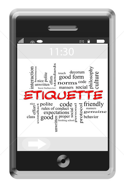 Etiquette Word Cloud Concept on Touchscreen Phone Stock photo © mybaitshop