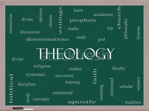 Theology Word Cloud Concept on a Blackboard Stock photo © mybaitshop
