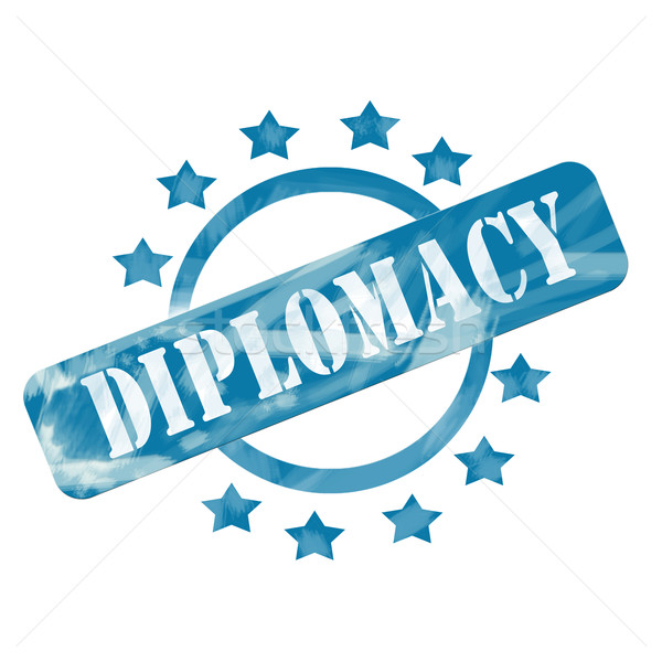 Blue Weathered Diplomacy Stamp Circle and Stars design Stock photo © mybaitshop