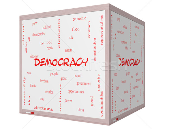 Democracy Word Cloud Concept on a 3D cube Whiteboard Stock photo © mybaitshop