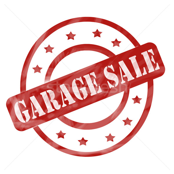 Red Weathered Garage Sale Stamp Circles and Stars Stock photo © mybaitshop